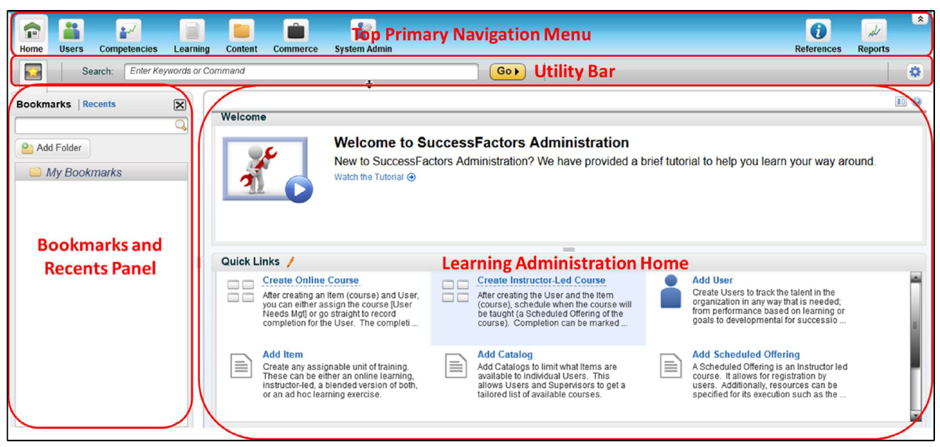 Figure 1 - Top Primary Navigation, Utility Bar, Bookmarks & Recents Panel, Learning Administration Home